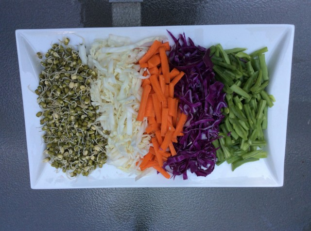 Left to right: bean sprouts, yellow cabbage, carrots, red cabbage, green beans. © Copyright 2015 Sangeeta Pradhan, RD, LDN, CDE