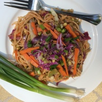 Whole wheat noodles with bean sprouts