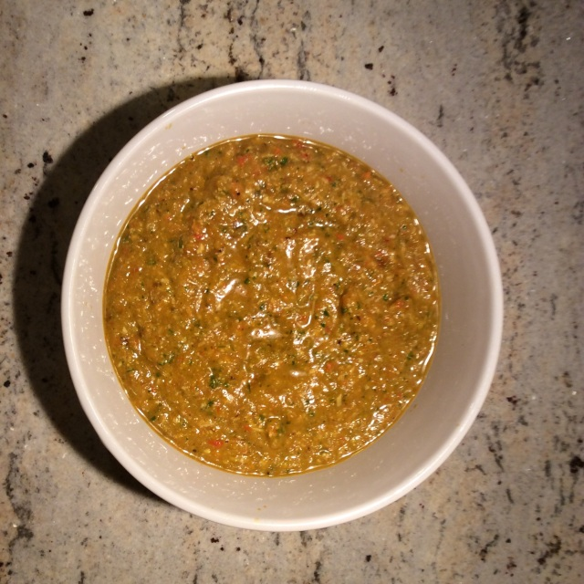 Figure 3: Roasted peppers and onions pureed with fresh basil and parmesan cheese