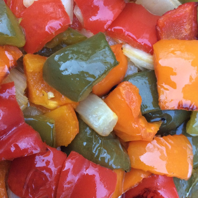 : Roasted peppers and onions.