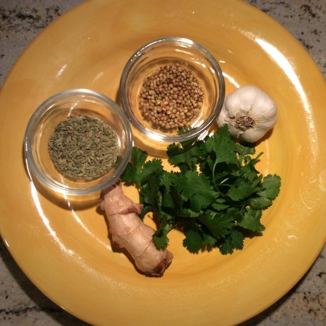 Ingredients for ginger-garlic-fennel and coriander seeds paste. © 2015 Sangeeta Pradhan