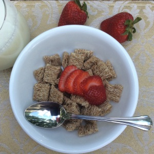 The shredded wheat is a form of insoluble fiber and the strawberries, a form of soluble fiber. © Copyright 2015 Sangeeta Pradhan, RD, LDN, CDE