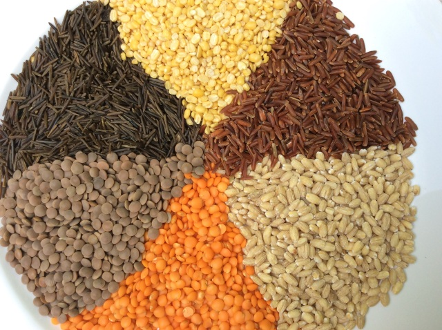 From bottom: salmon colored lentils, brown lentils, wild rice, yellow lentils, red rice and barley. © Copyright 2015 Sangeeta Pradhan, RD, LDN, CDE