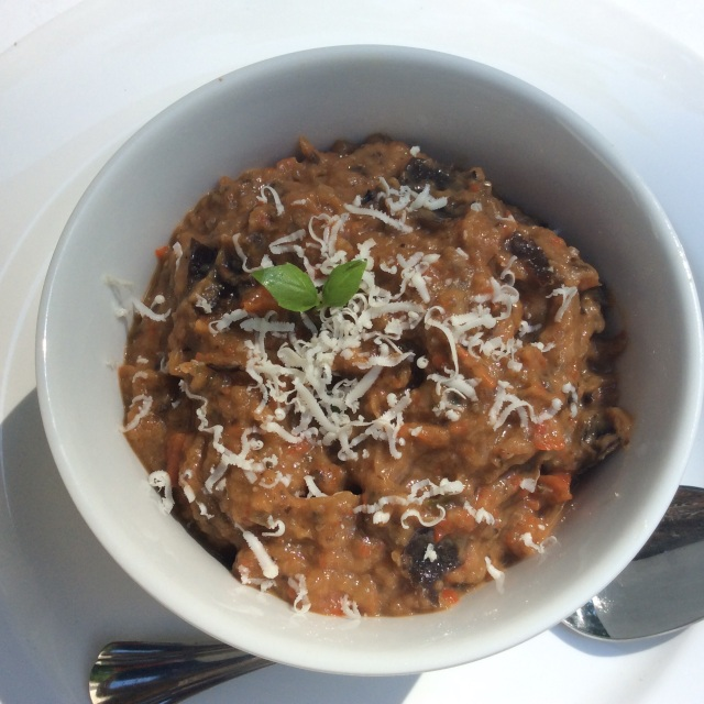 Roasted eggplant, fresh garlic and red pepper dip, lacto-vegetarian version