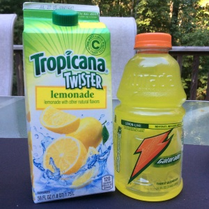 Gatorade contains 3 tsp of sugar and this lemonade contains both HFCS and sucrose contributing to 7 tsp of sugar. © Copyright, Sangeeta Pradhan, RD, LDN, CDE August 2015.