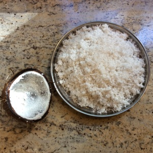 Freshly grated coconut. Copyright Sept 2015