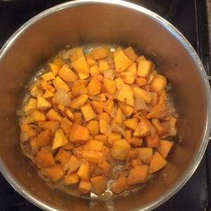 Butternut squash is sauteed with fresh ginger and chopped onions. © Copyright, September 2015 Sangeeta Pradhan, RD, LDN, CDE