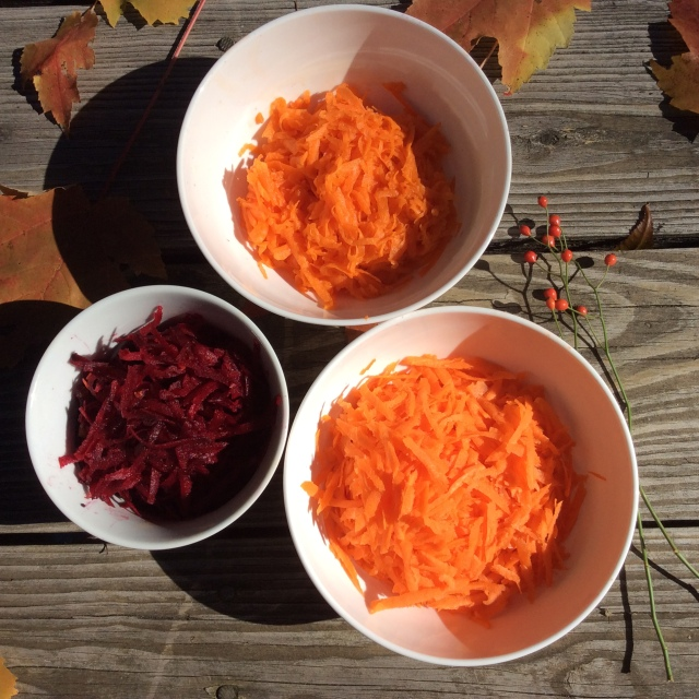 Clockwise, from top: grated pumpkin, grated carrots and grated beets. Copyright, Sangeeta Pradhan, RD, LDN, CDE, October 2015.