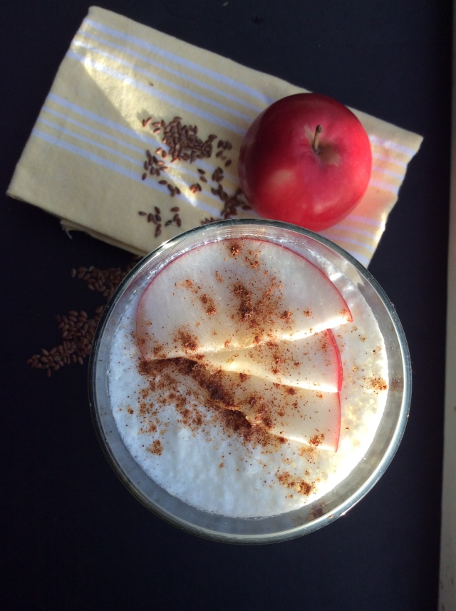 Apple-cinnamon-flax seed kefir. © Copyright, Sangeeta Pradhan, RD, LDN, CDE.