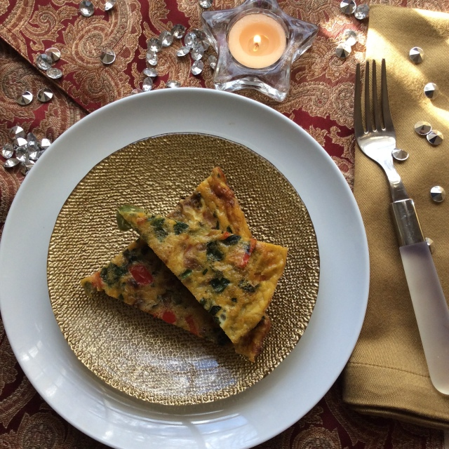 Add a sparkle to your holiday brunch with this easy veggie fritata © Copyright, December, 2015, Sangeeta Pradhan, RD, LDN, CDE.