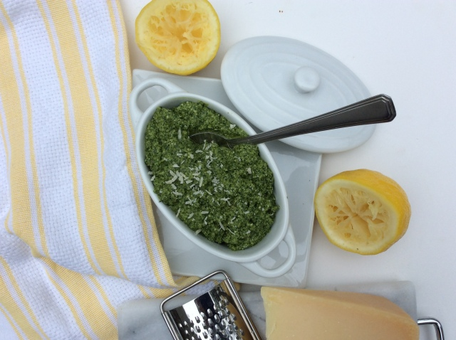 "Freshly grated parmesan and freshly squeezed lemon juice makes this ""from-scratch"" pesto sauce pop! © Copyright, May 2016, Sangeeta Pradhan, RD, LDN, CDE."