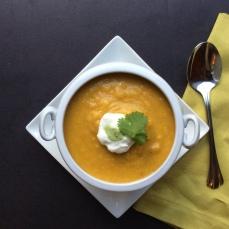 Pumpkin soup with turmeric. Copyright, Sangeeta Pradhan, RD, CDE, 2015-2017.