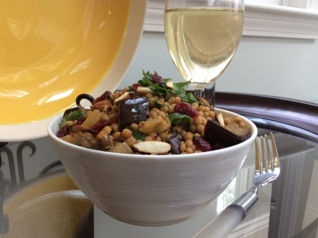 Bring whole grains back! Warm, whole wheat couscous salad with juicy, roasted eggplant. © Copyright 2019, Sangeeta Pradhan, RD, LDN, CDE
